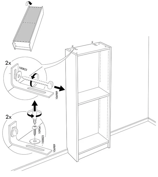 Disassembly instructions from IKEA, step 1