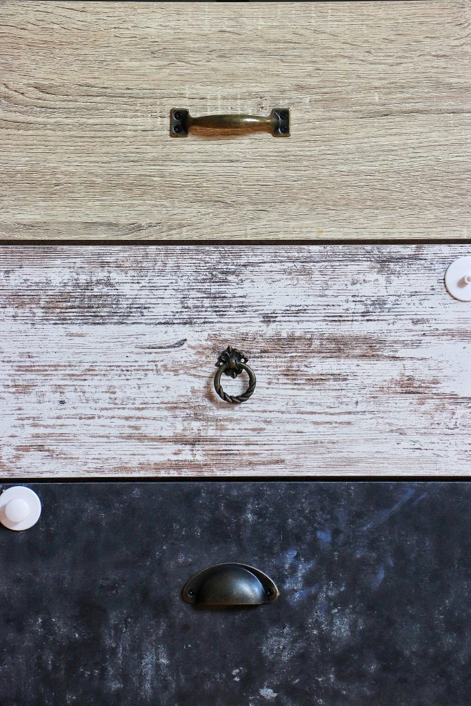 Drawers and knobs before the makeover