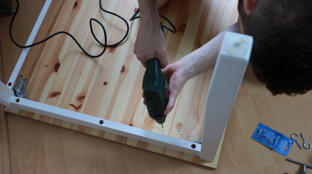 Drilling holes for the hooks