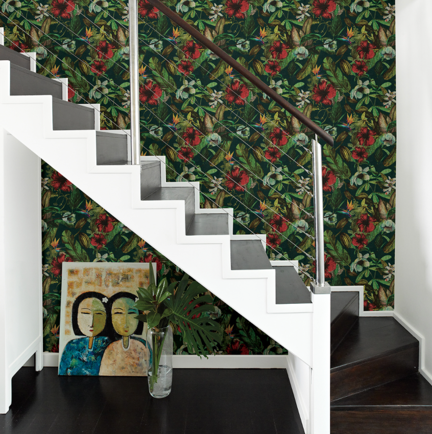Botanical wallpaper in staircase