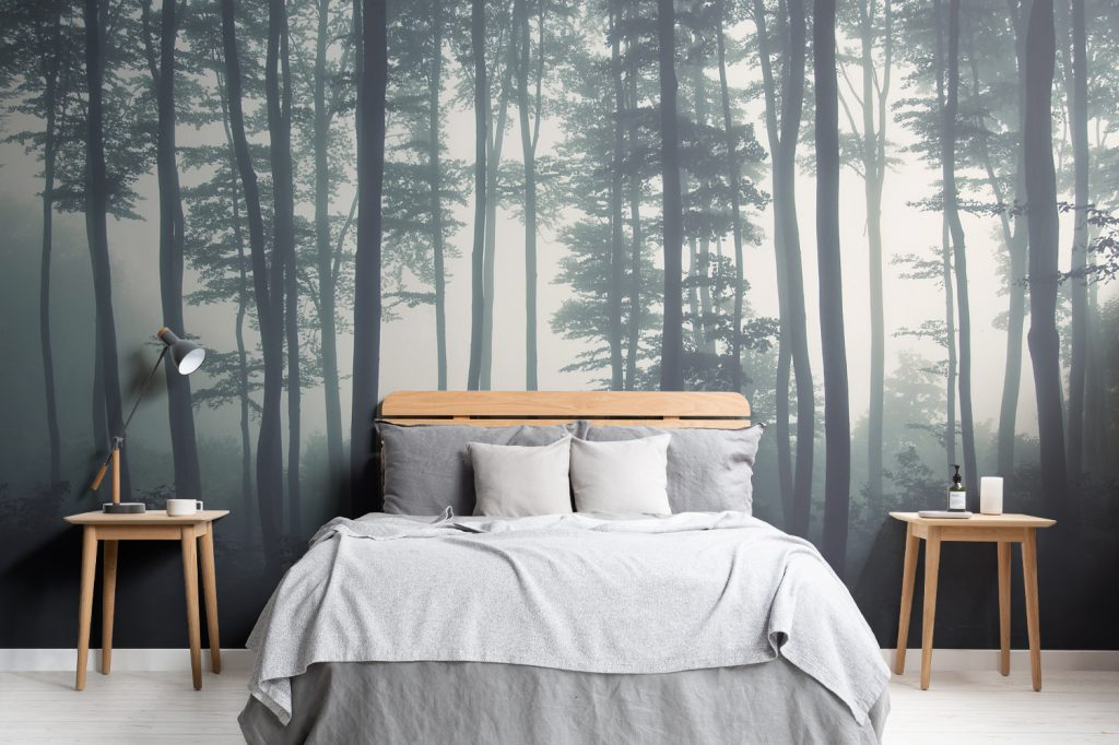 Forest wallpaper in a bedroom
