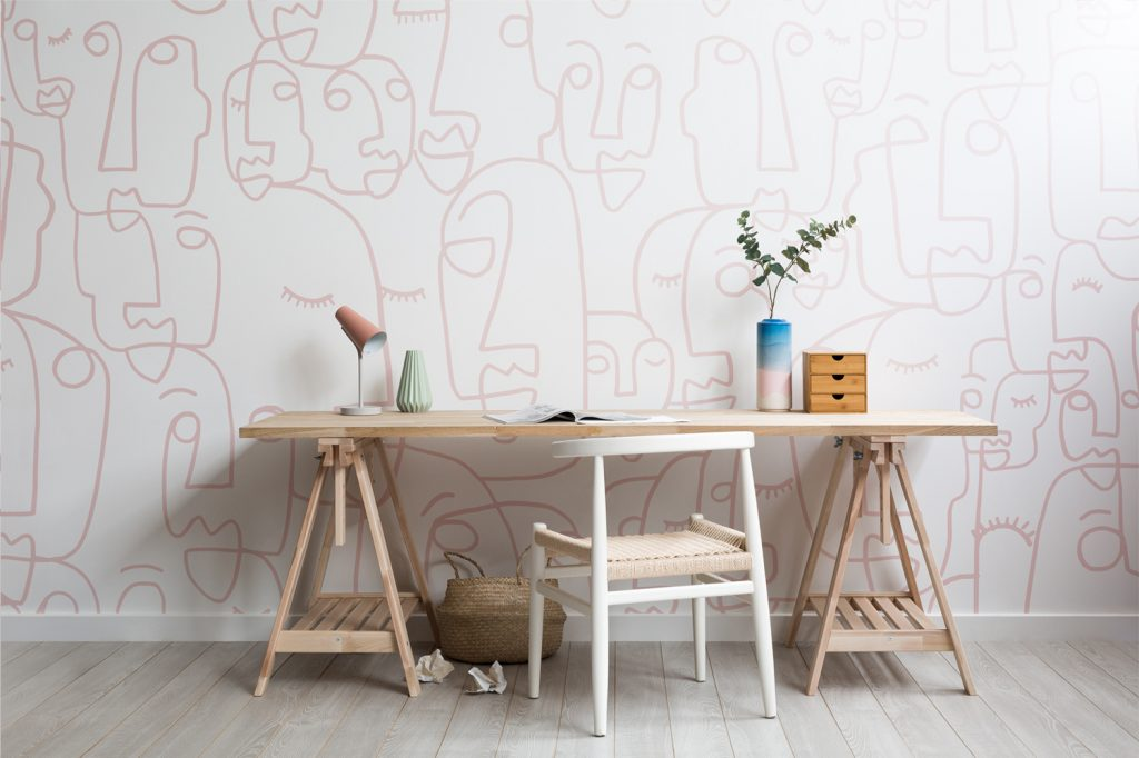 Abstract wallpaper in home office
