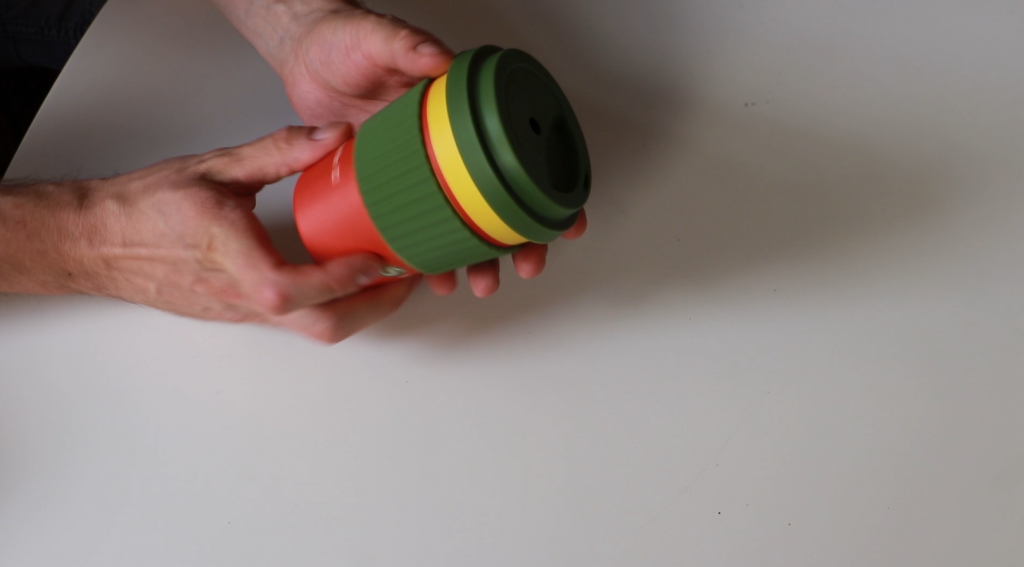 Reusable coffee cup to be used as a mould for a door stopper
