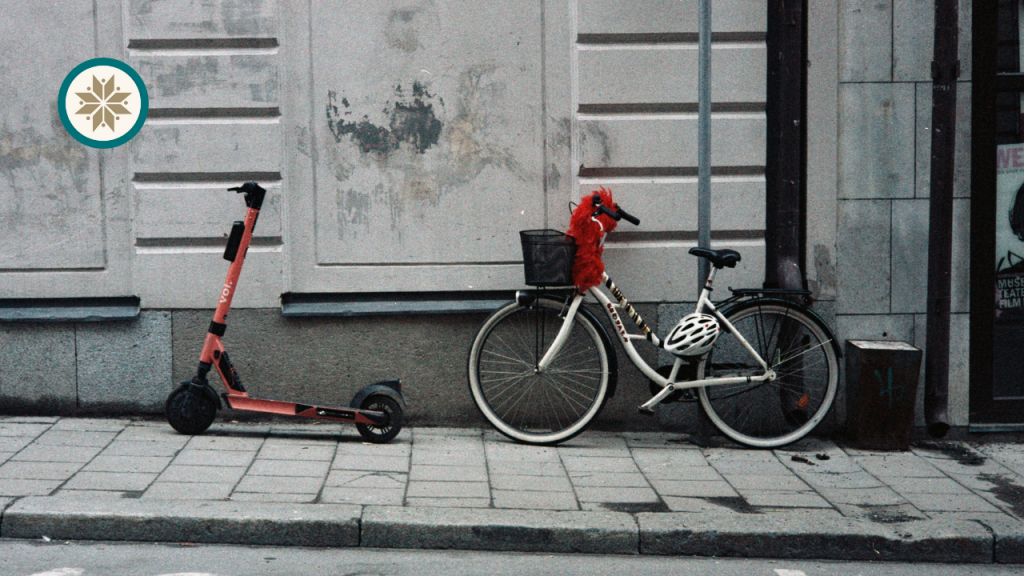 A bicycle and an e-scooter