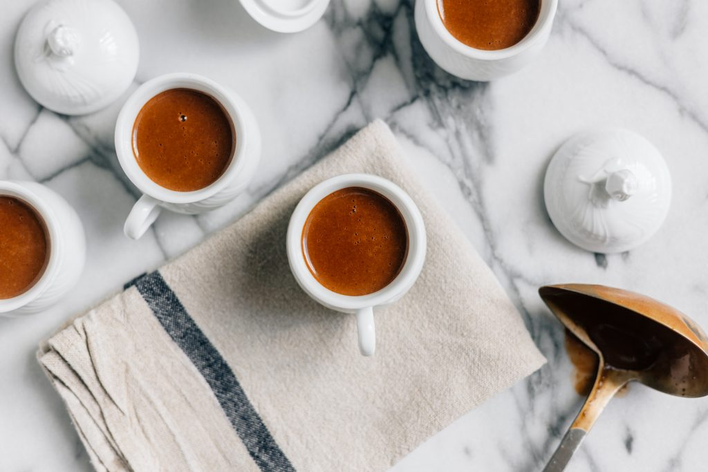 Marble countertop with cups of coffee