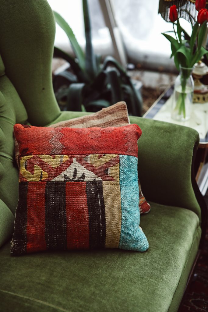 Vintage furniture and unique cushions