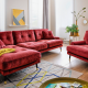 Red L-shaped couch | Living room makeover